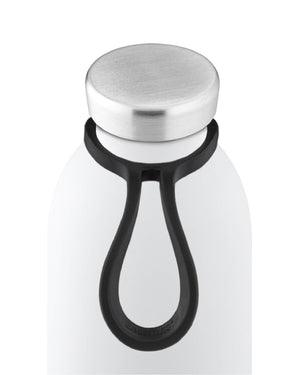 white bottle with tie top view
