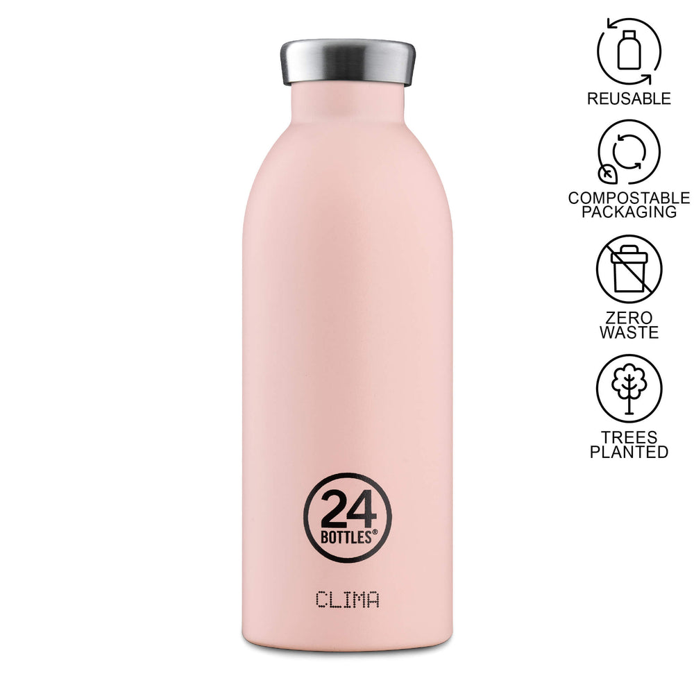 dusty pink 500ml clima water bottle 24 bottles