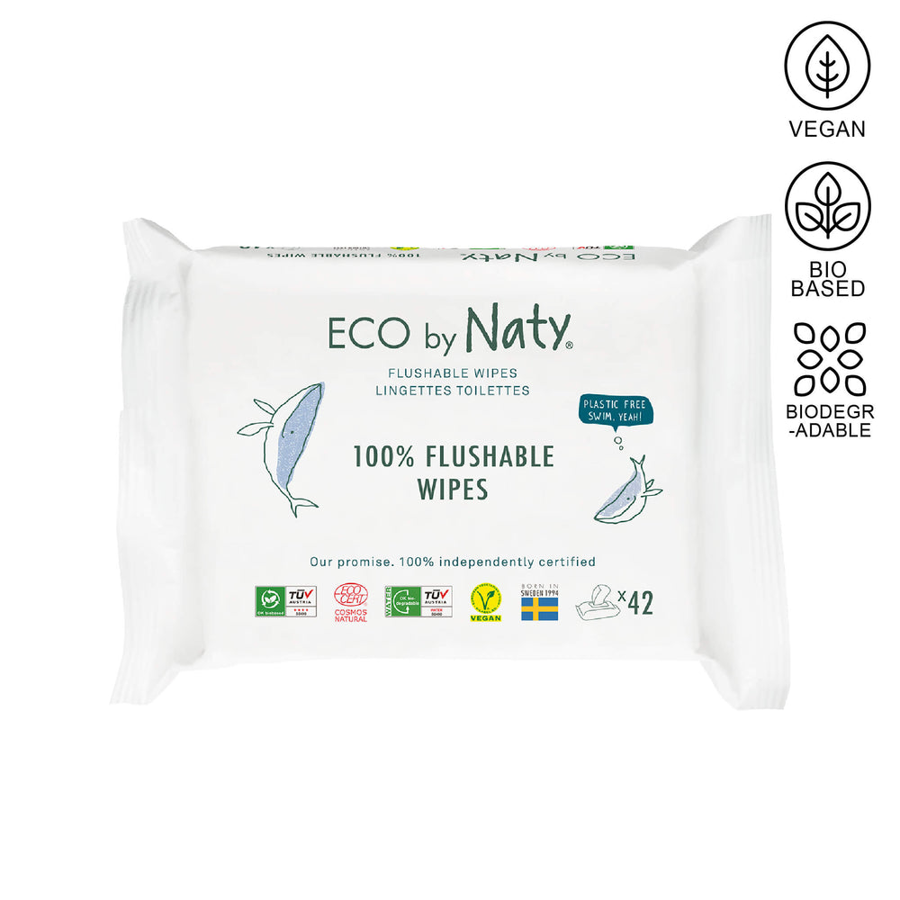 Eco by Naty flushable wipes package containing 42 units.