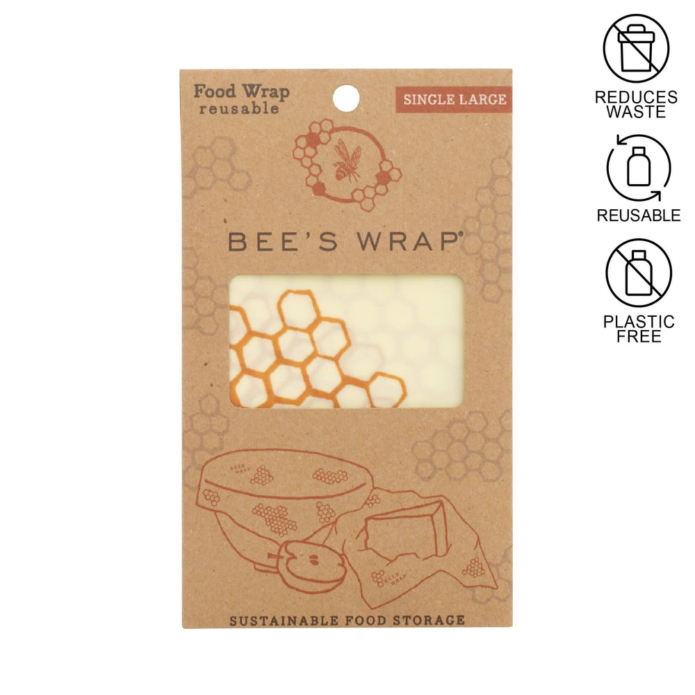 single large beeswax wrap inside of kraft packaging