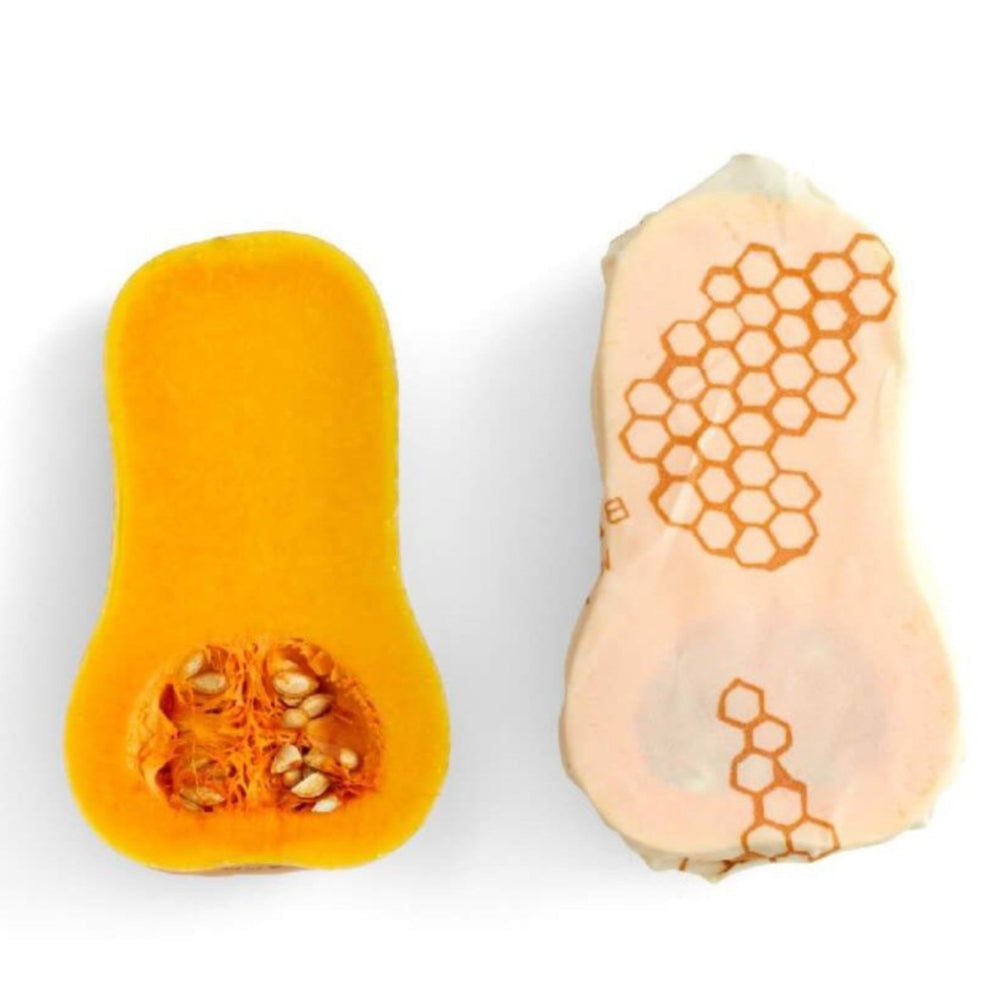 beeswax wrap in use overing squash vegetable
