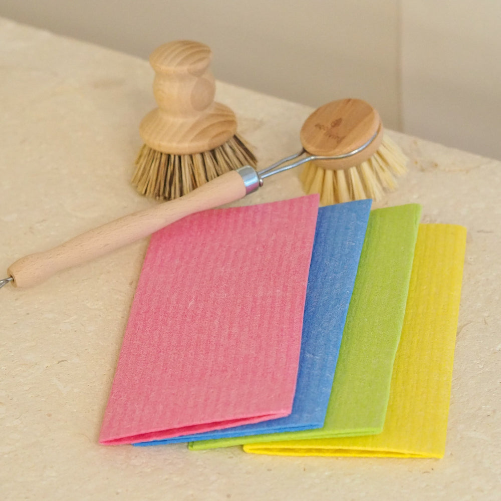 rainbow cleaning cloths spread out flaylay