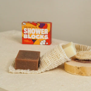 coffee and vanilla soap next to packaging