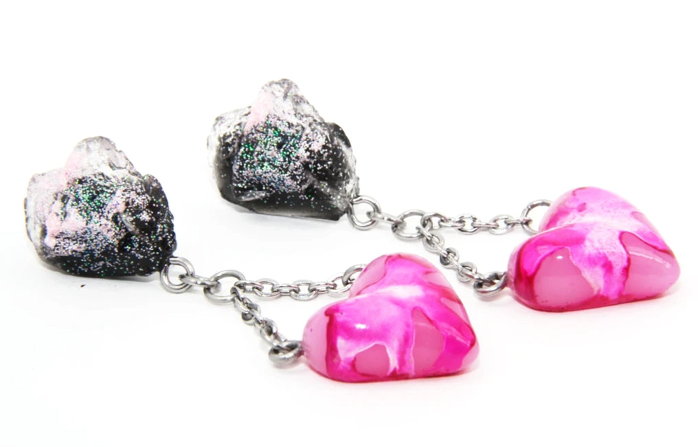 Heart rock statement dangle earrings (black and pink)