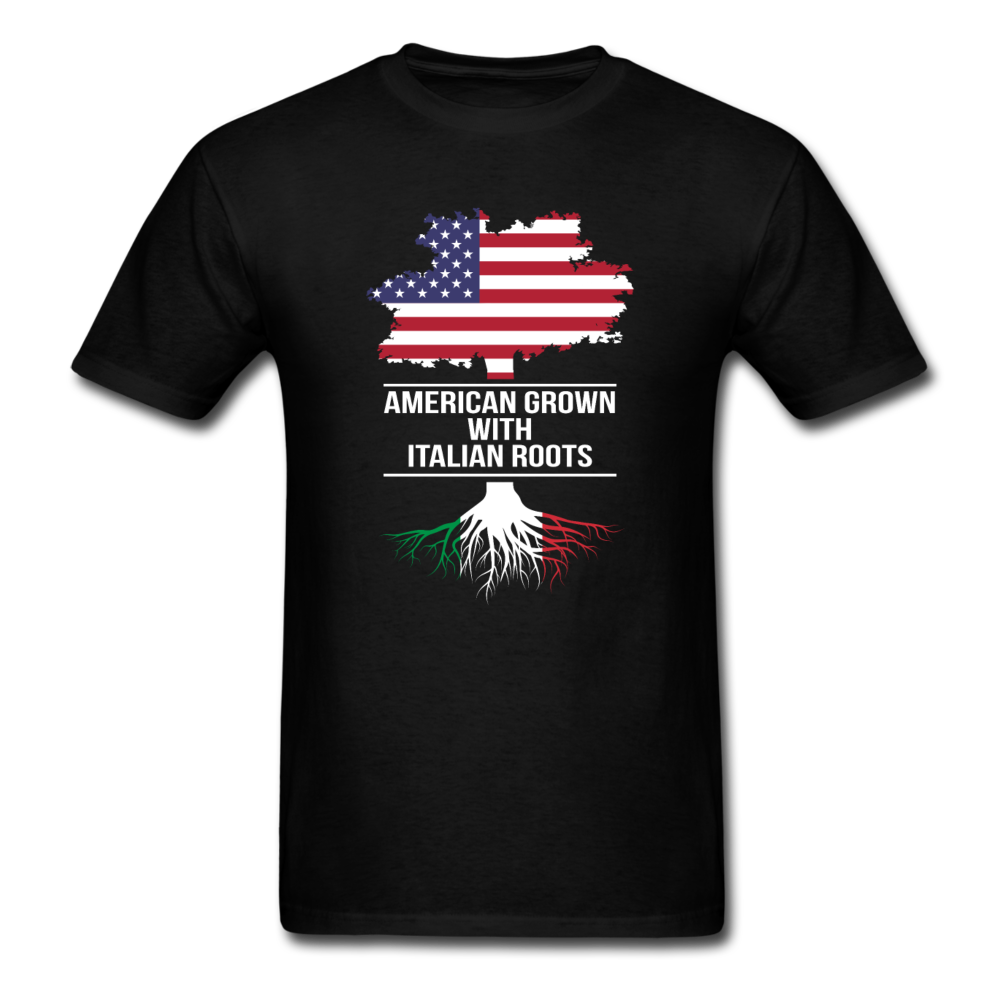 American Grown with Italian Roots T-shirt - black