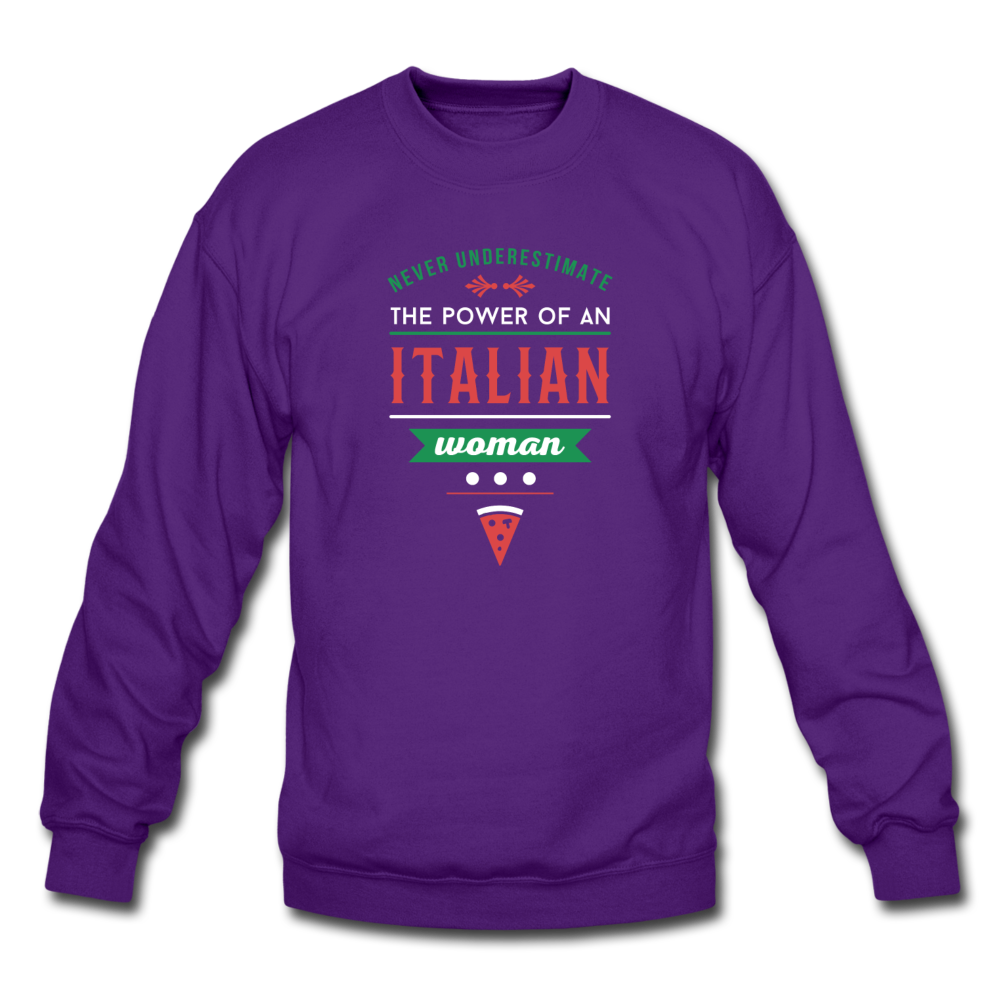 Never underestimate the power of an Italian woman Crewneck Sweatshirt - black