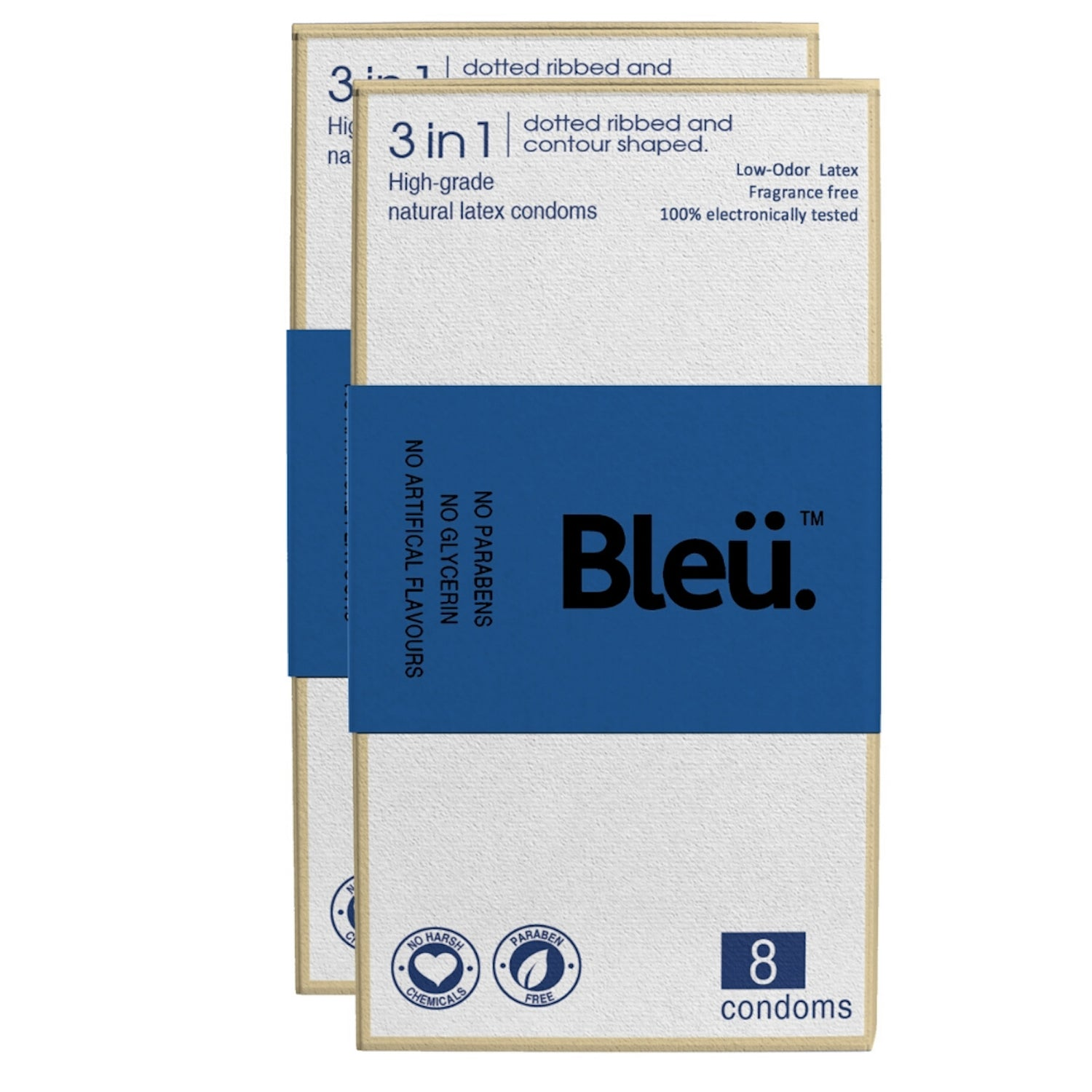 Bleu Natural Latex Paraben-Free Premium 3-In-1 Condoms Skin Friendly (8 Condoms, Pack Of 2)