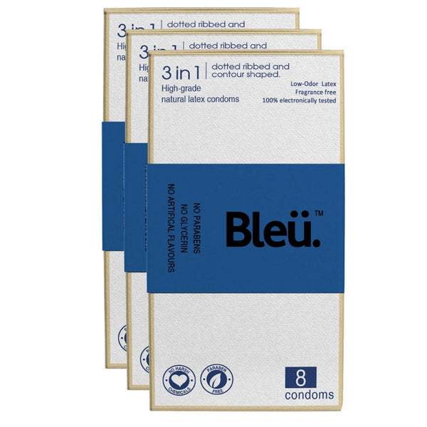 Bleu All Natural Premium Latex 3-In-1 Condoms - Ribbed and Dotted (8 Condom, Pack Of 3)