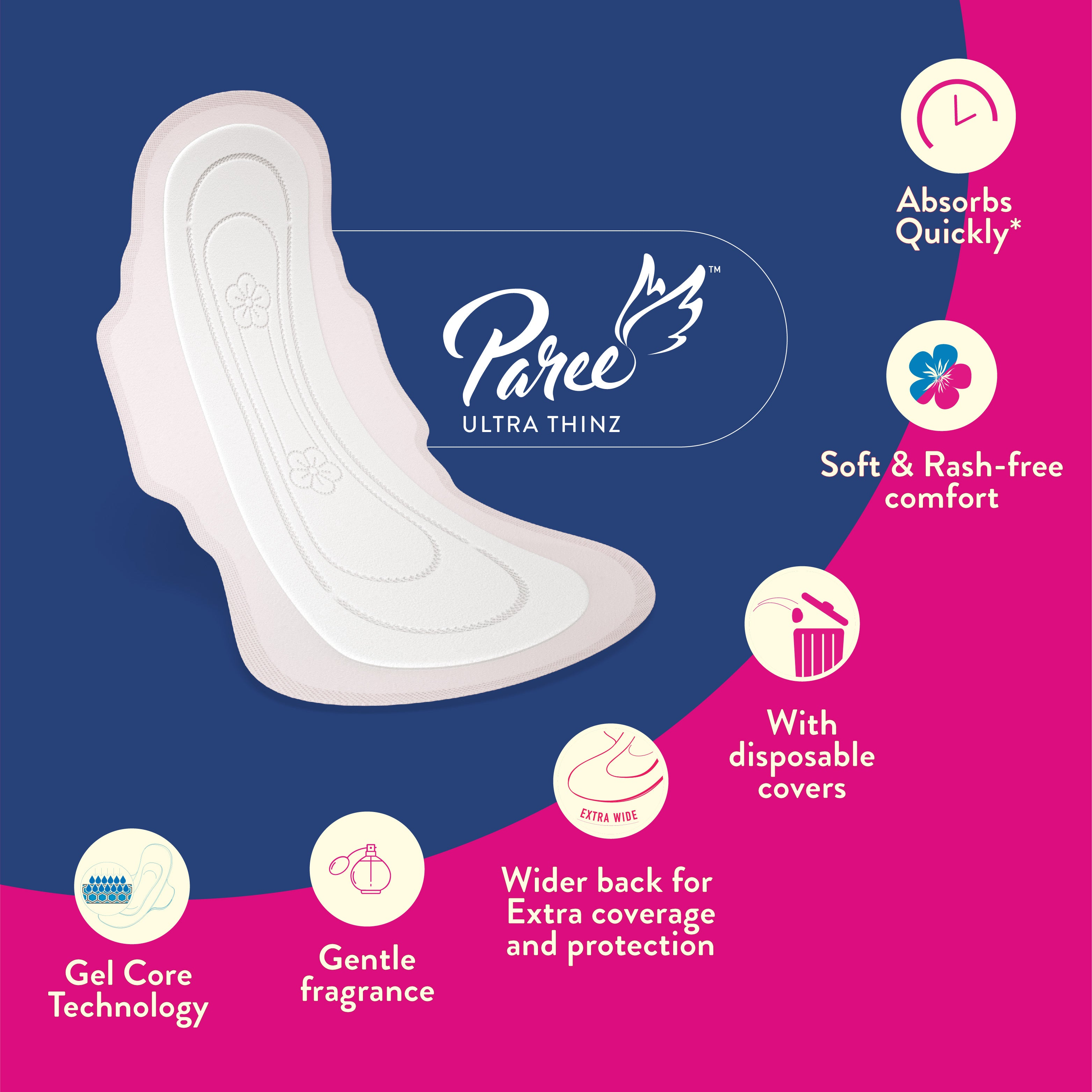 Paree Prima Ultra soft Breathable Sanitary Pads (Pack of 20)