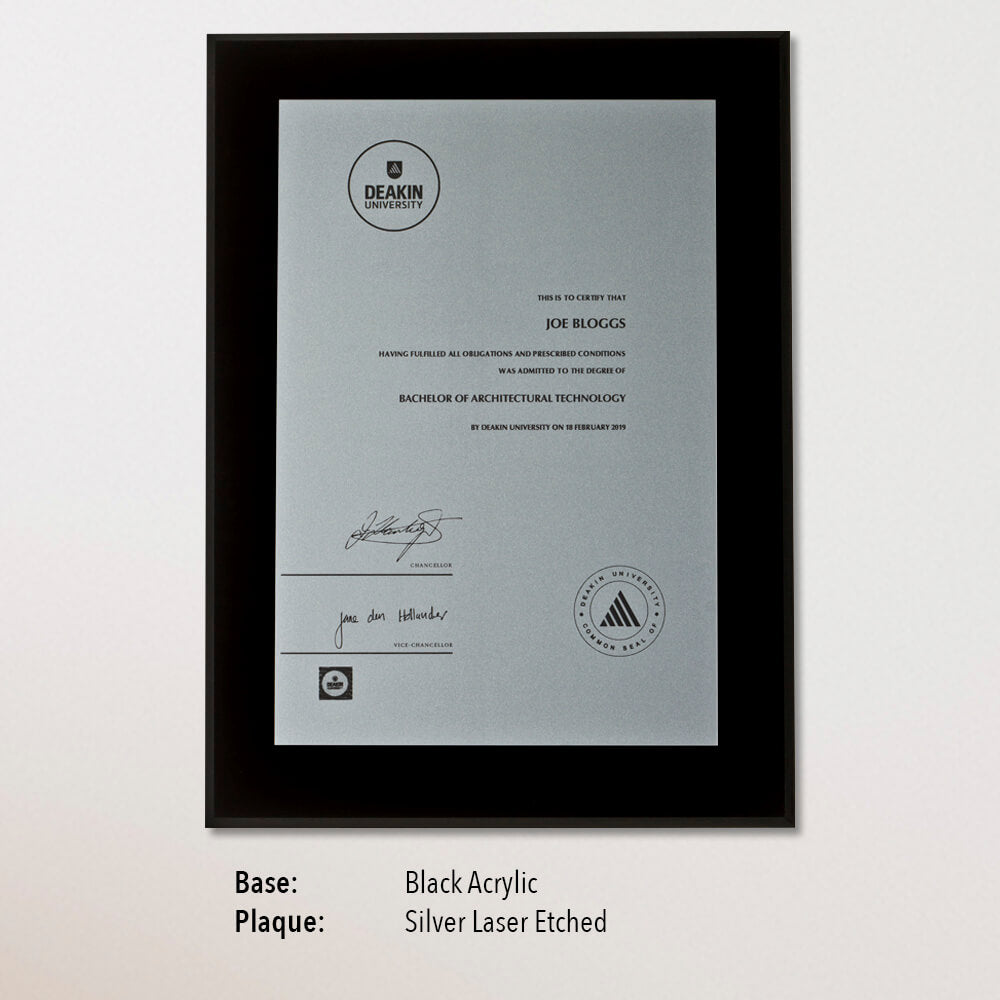 University Certificate Plaque - Black Acrylic, Silver Laser
