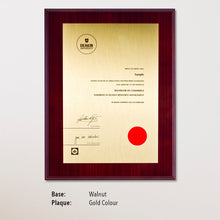 Load image into Gallery viewer, University Certificate Plaque - Walnut, Gold Colour