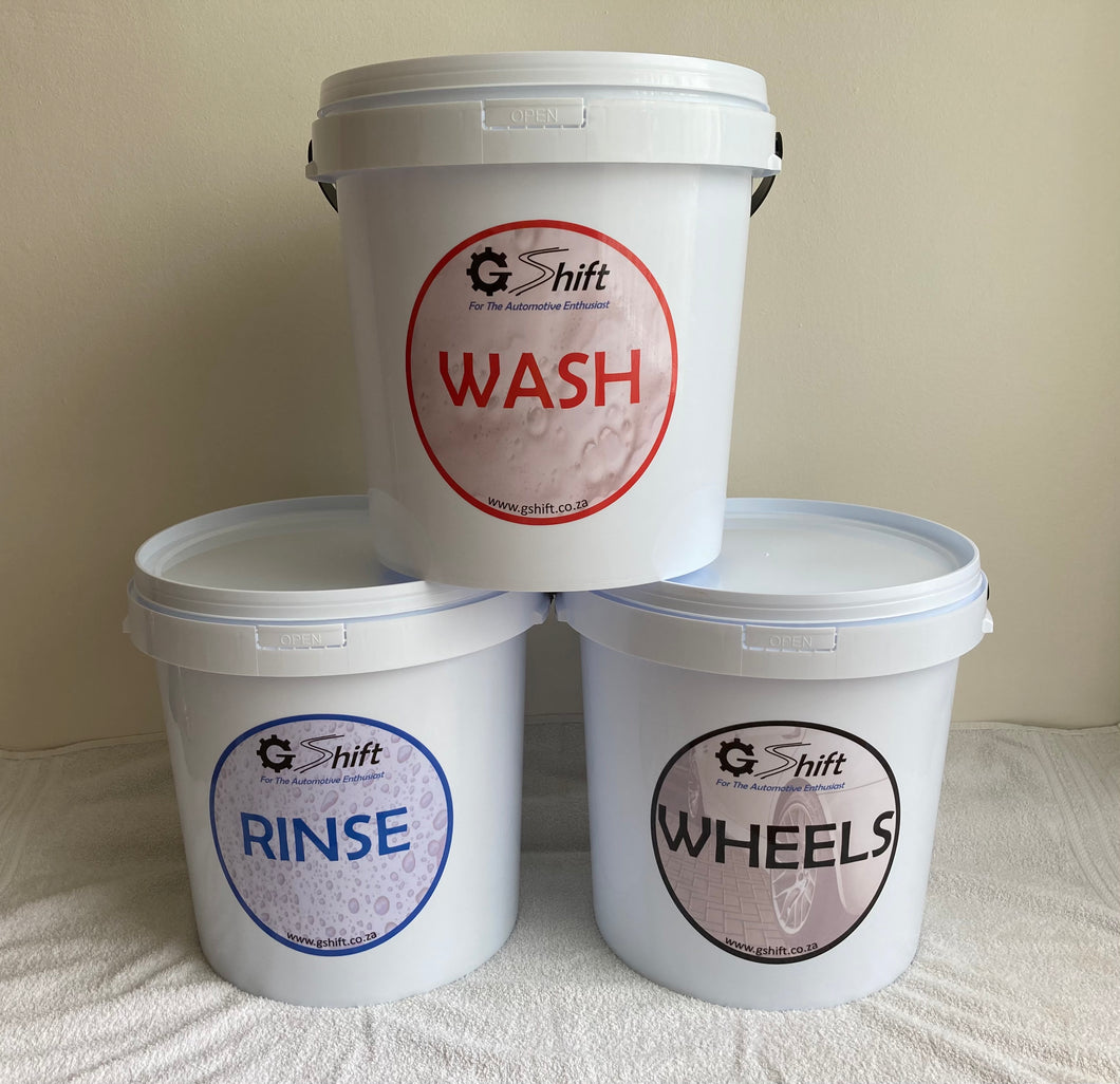 G Shift 20l Buckets + Lid (Wash, Rinse, Wheels)