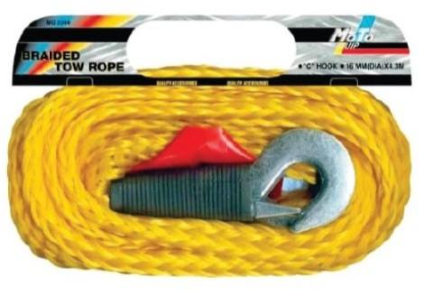 Moto-Quip PP Braided Tow Rope - 16mm X 4.2m with