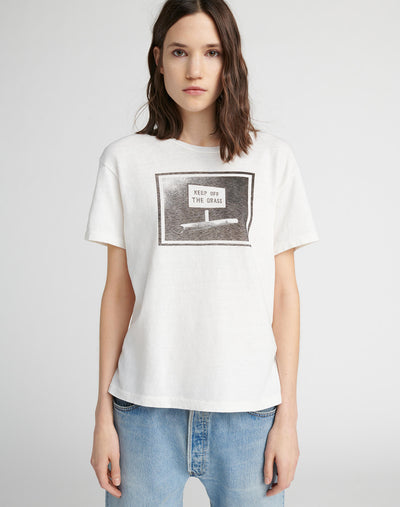 "Girlfriend ""Keep off the Grass"" Tee - Vintage White"