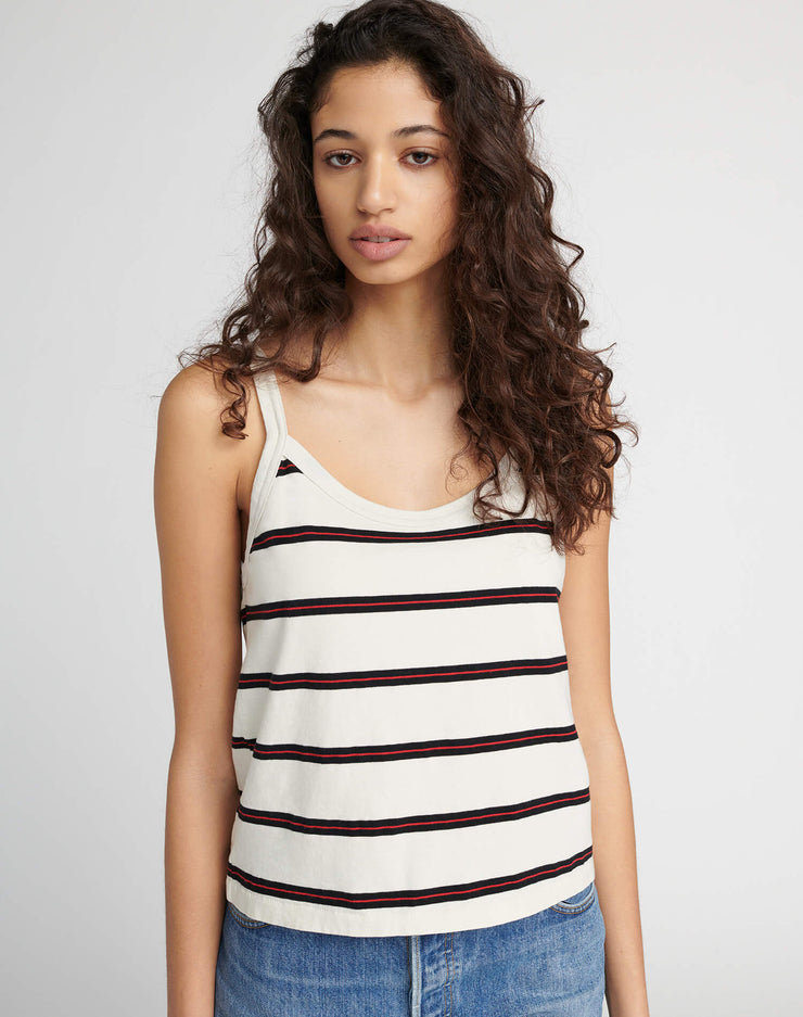 The 90s Jersey Tank - Ivory w/ Black & Red Stripe