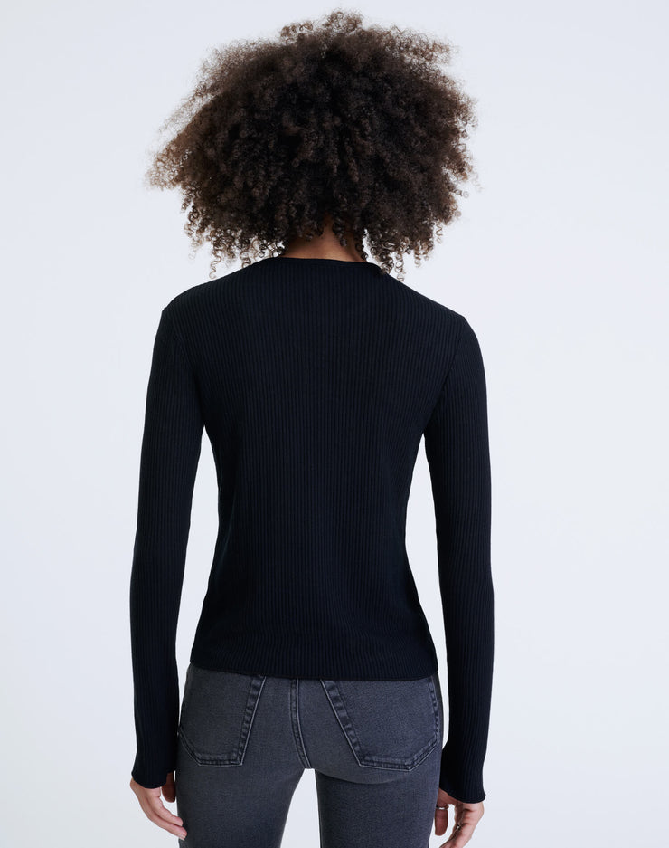 60s Ribbed Long Sleeve Tee - Black