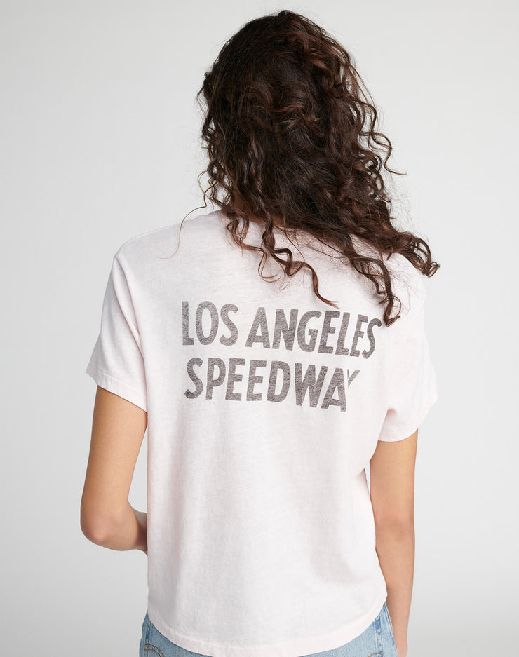 "70s Oversized Pocket ""Los Angeles Raceway"" Tee - Faded Pink"