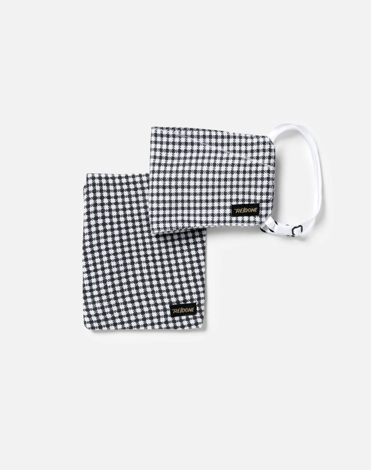 Upcycled Gingham Mask Pouch Set - Black