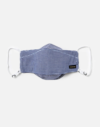Upcycled Houndstooth Mask Pouch Set - Blue