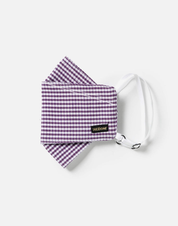 Upcycled Gingham Mask Pouch Set - Purple