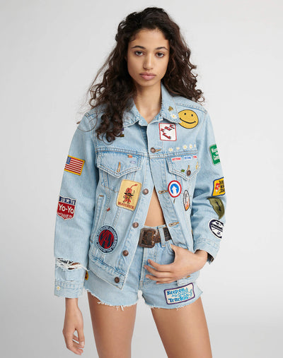 Oversized Embellished Trucker Jacket - Light 04