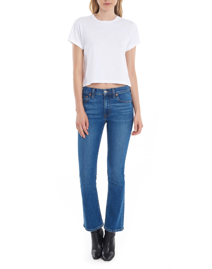 Comfort Stretch Mid Rise Kick Flare Crop - Mid 70s
