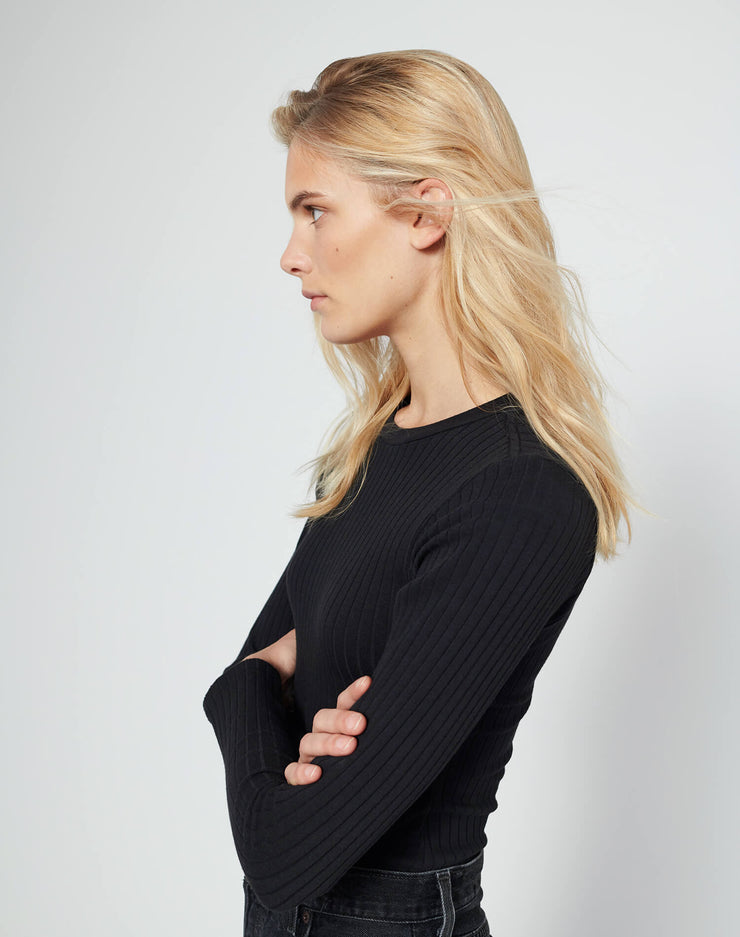 Ribbed L/S Bodysuit - Black