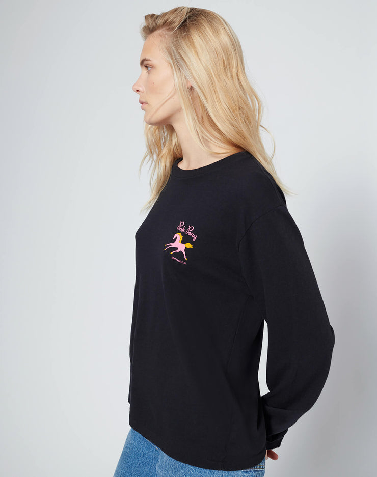 90s Long Sleeve Pink Pony Tee - Black