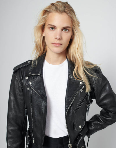 80s Leather Moto Jacket - Black