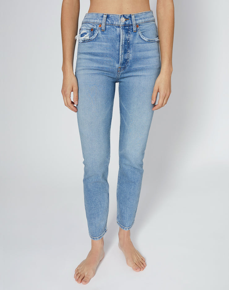 Comfort Stretch High Rise Ankle Crop - Worn Blue