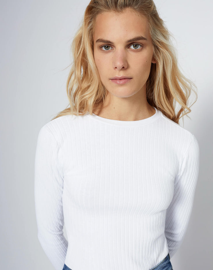 Ribbed L/S Bodysuit - Optic White