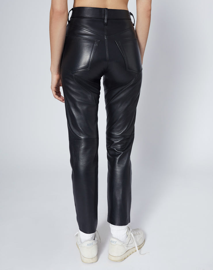 50s Leather Cigarette Pant - Black