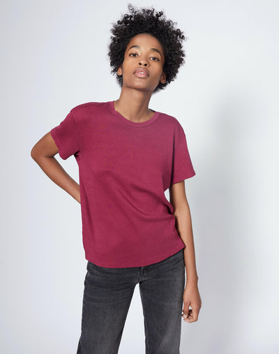 70s Oversized Butter Soft Tee - Burgundy