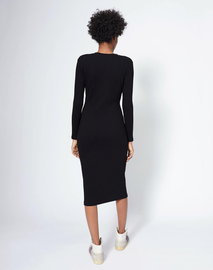 90s Long Sleeve Ribbed Dress - Black