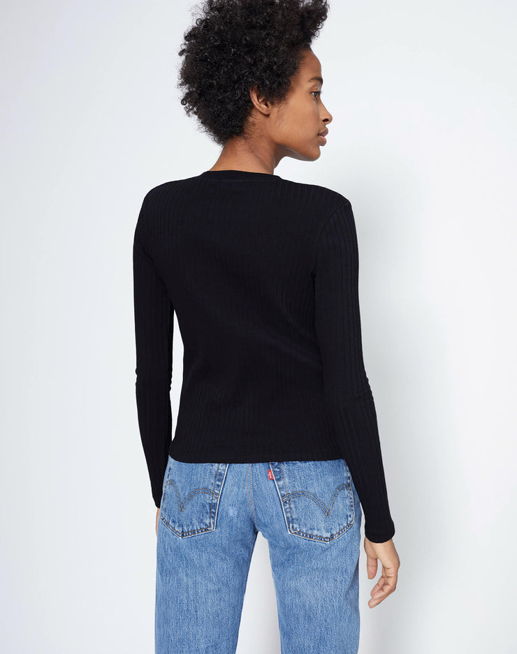 Ribbed Long Sleeve Tee - Black