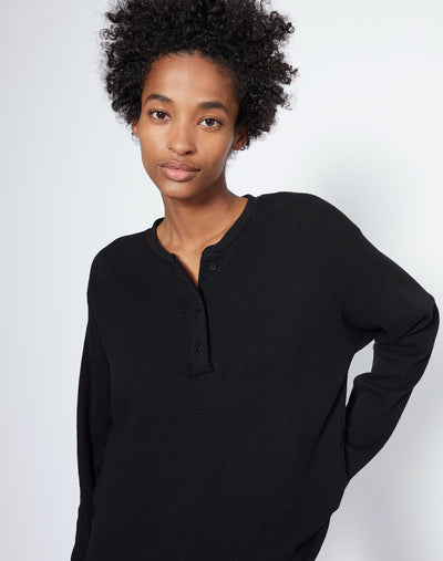 Henley Thermal Long Sleeve Tee - Black