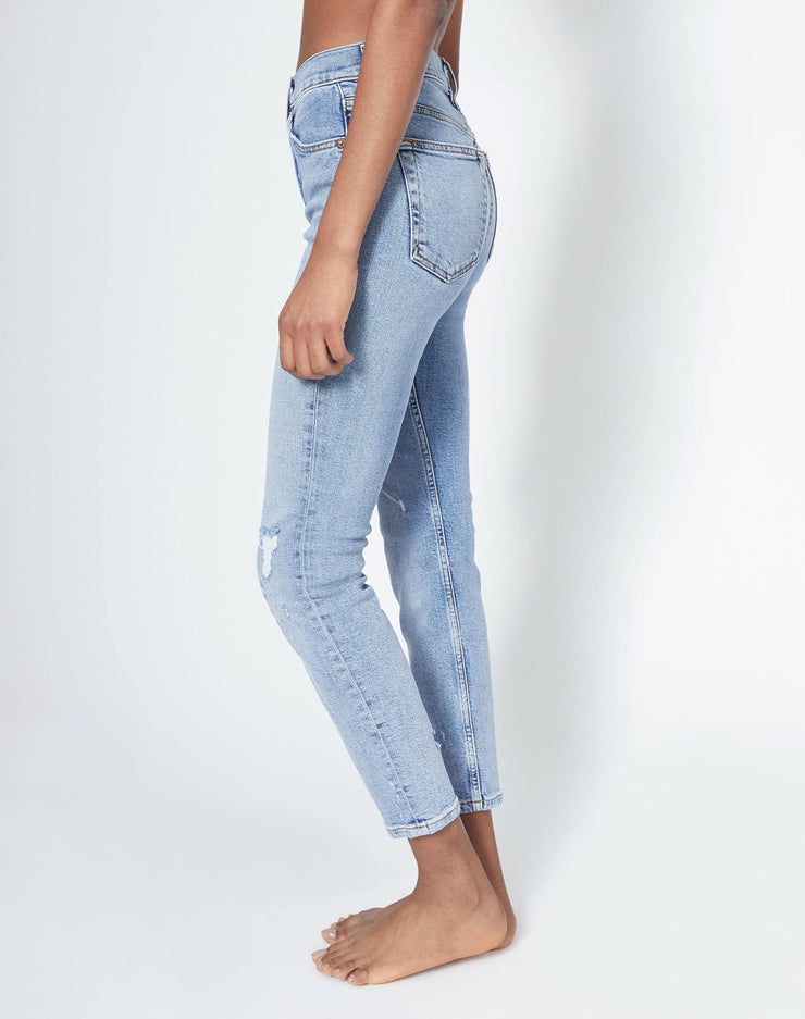 Comfort Stretch High Rise Ankle Crop - Mid 90s w/ Holes