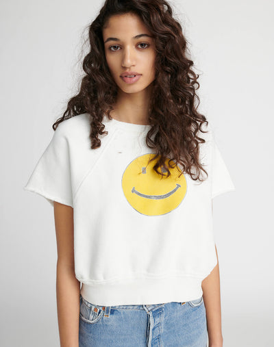 "Raw Short Sleeve Sweatshirt ""Smiley"" - Off White"