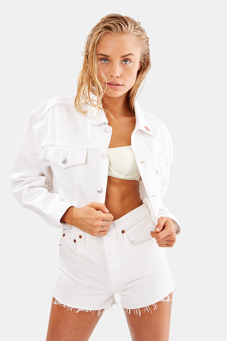 The Hollywood Cropped Jacket - Dirty White