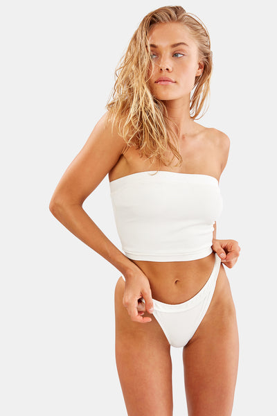 The Venice Bikini Top - Ivory Rib