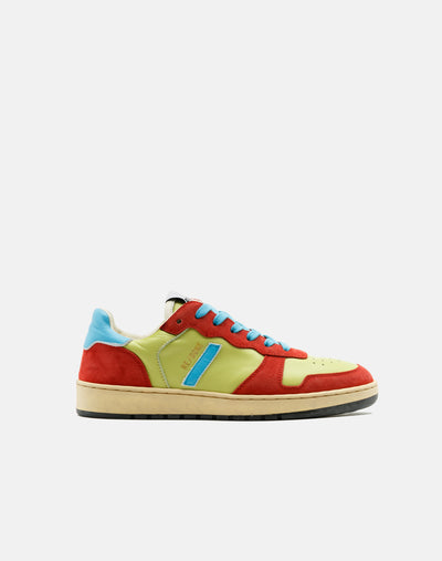 80s Basketball Shoe - Green and Red and Blue
