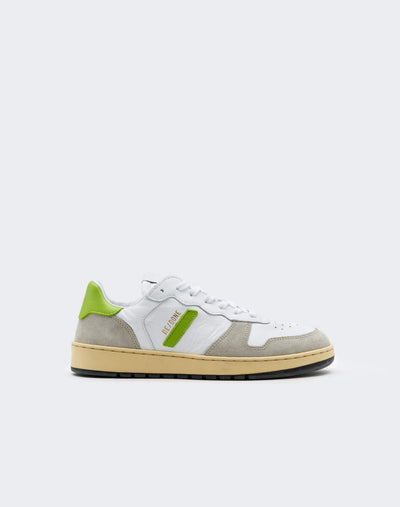 80s Basketball Shoe - White and Lime