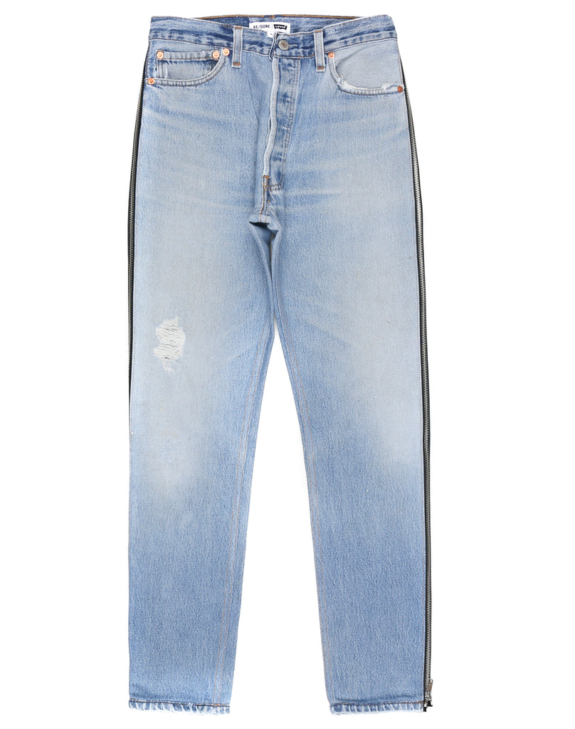 high rise ankle crop side zipper jeans - Blue Re/Done 8XRELkFRK