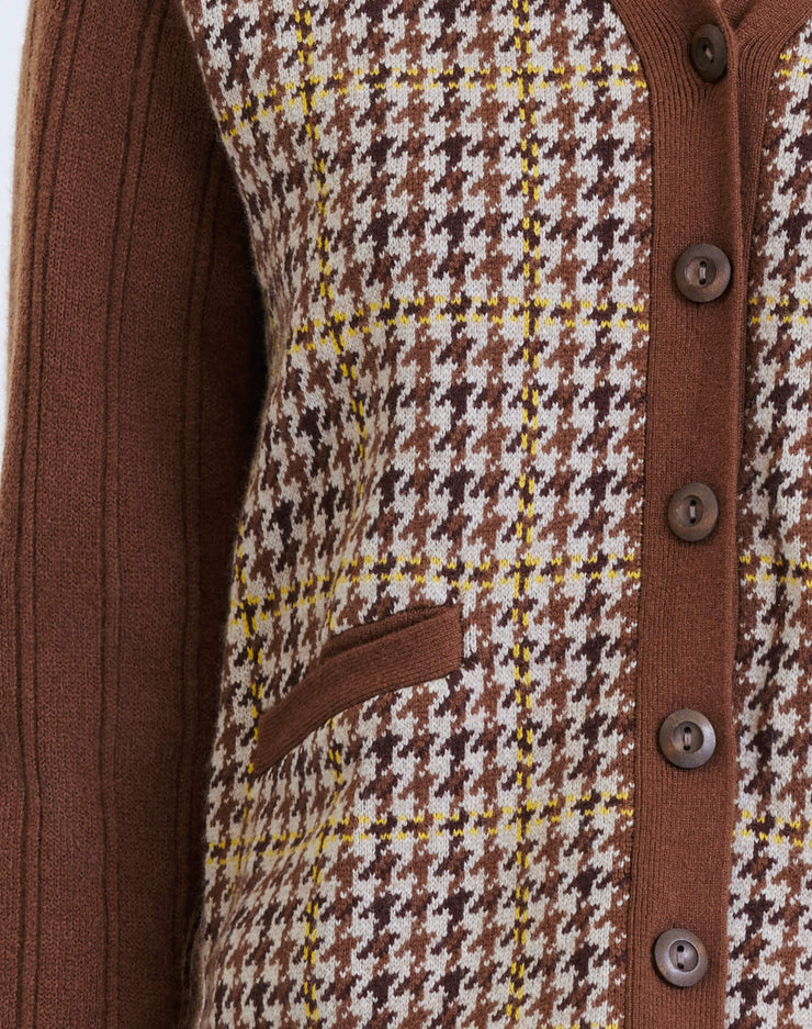 60s Slim Cardigan - Brown Houndstooth