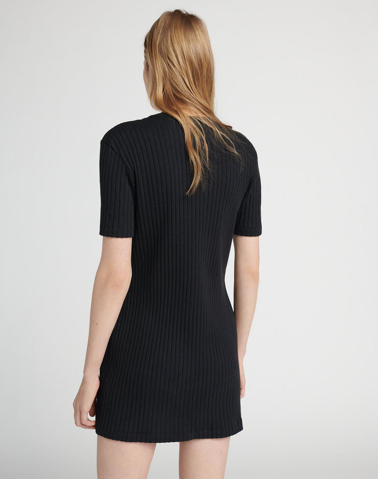 60s Mini Rib Dress - Black