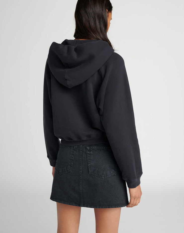 70s Zip Up Sweatshirt - Sunfaded Black