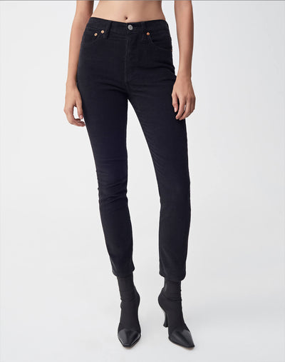 Corduroy Stretch High Rise Ankle Crop | Black | 807-3WHRAC | 1