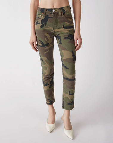 Stretch High Rise Ankle Crop - Camo