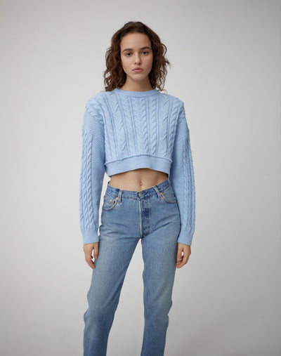 Cableknit Crop Sweater - Bright Blue