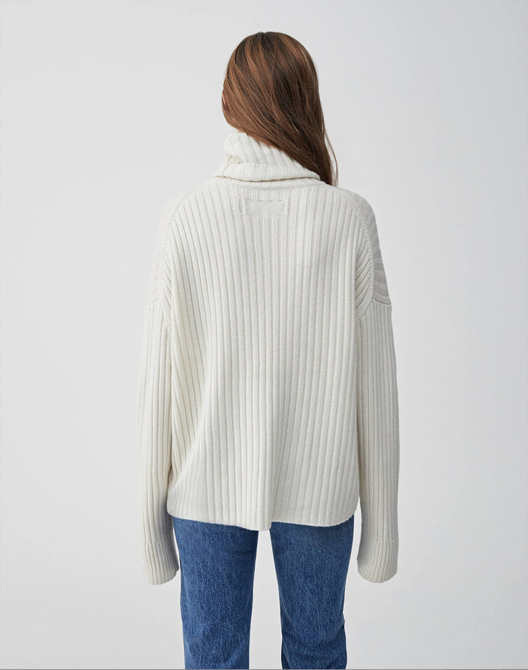 Chunky Rib Turtleneck Sweater | Ivory | 508-7WRTS | 4